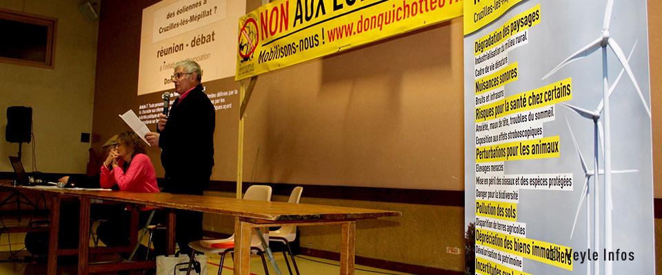 Veyle Infos – Projet éolien : Salle comble pour la réunion d'informations des « Don Quichotte 01 » (26/01/20)