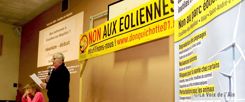 La Voix de l'Ain – L'association Don Quichotte 01 poursuit sa mobilisation contre le parc éolien (31/01/20)